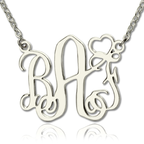 Personalized Initial Monogram Necklace With Heart Srerling Silver