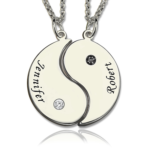 Yin Yang Mother Daughter Set with Name & Birthstone