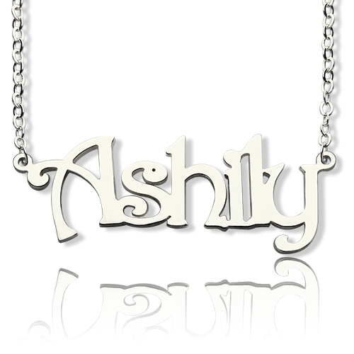 Sterling Silver Harrington Font Name Necklace