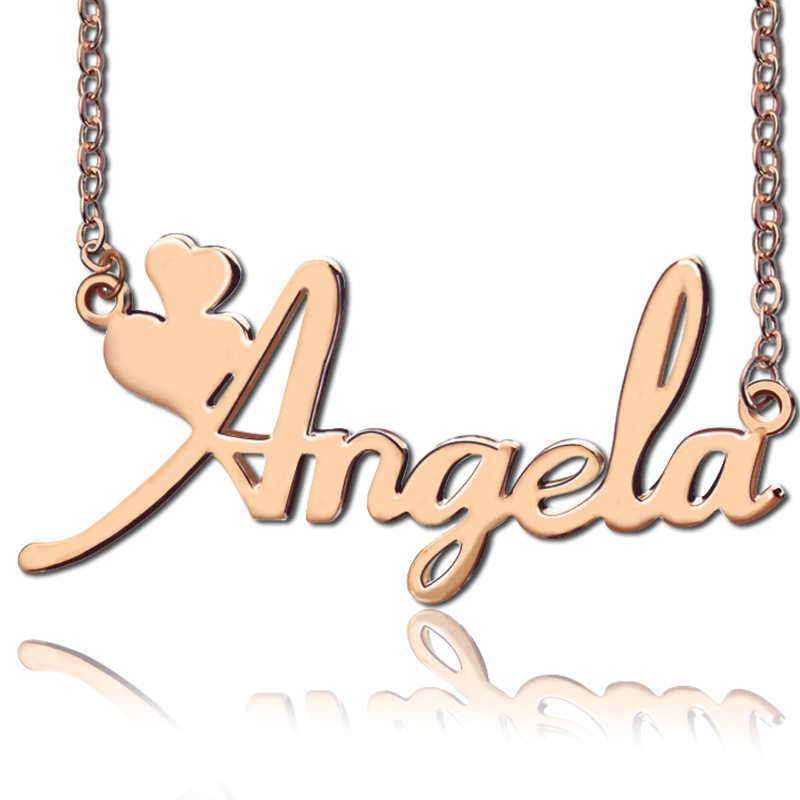 Personalized Girls Name Necklace Rose Gold