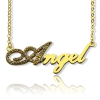 18K Gold Plated Script Name Necklace-Initial Full Birthstone