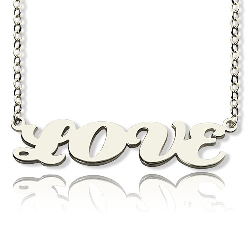 Capital Name Plate Necklace Sterling Silver