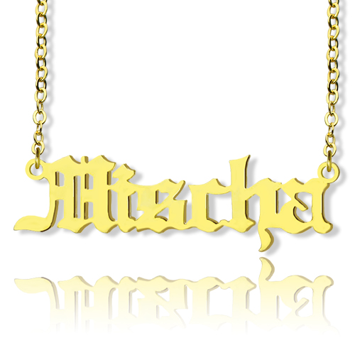 Old English Name Necklace 18k Gold Plated