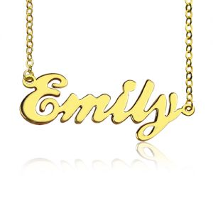 Cursive Nameplate Necklace 18K Gold Plated