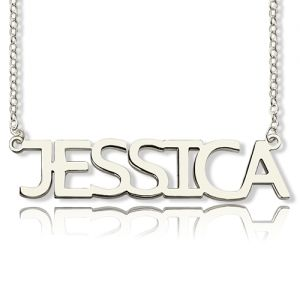 Block Letter Name Necklace Silver -