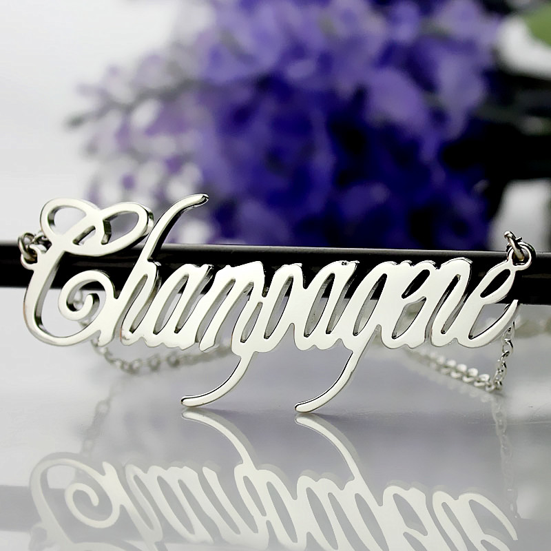 Silver Champagne name necklace