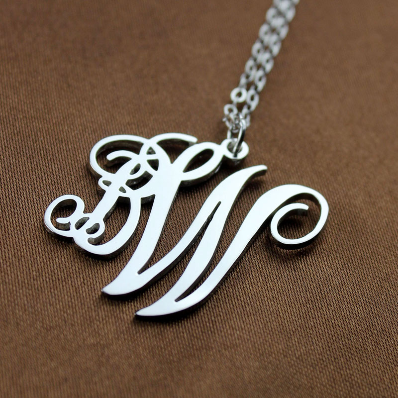 Silver two initials necklace