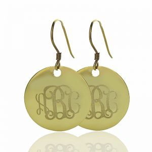 Solid Gold Circle Signet Monogram Earring