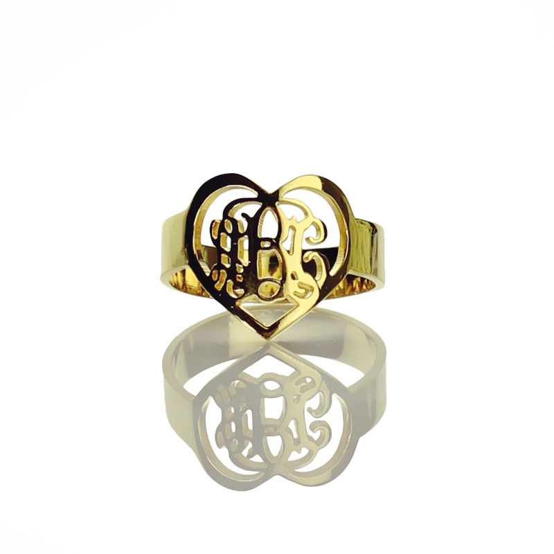 handmade 3 initials monogram ring heart shape initials ring gold plated 925 silver