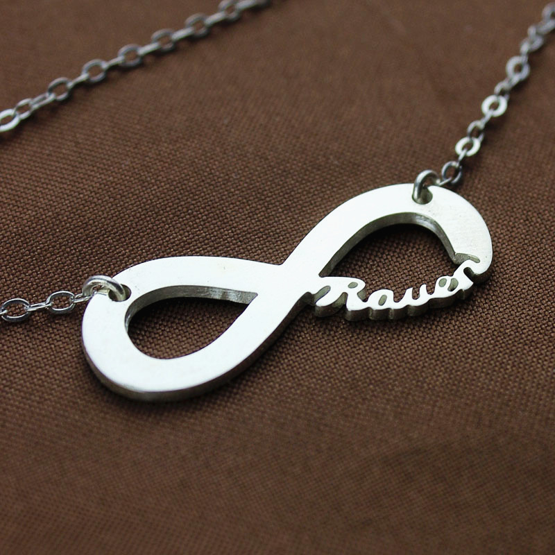 infinity necklace white gold. solid white gold infinity name necklace y