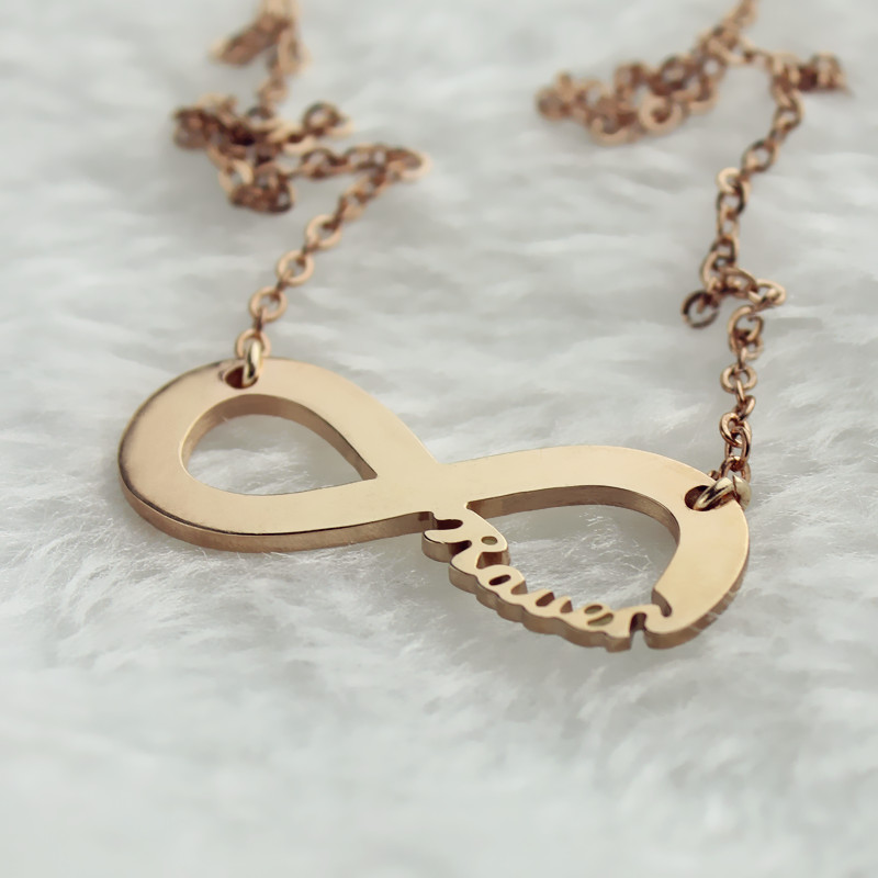 infinity necklace rose gold. solid rose gold infinity name necklace i