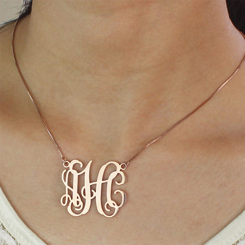 Personalized rose gold monogram pendant necklace mozeypictures