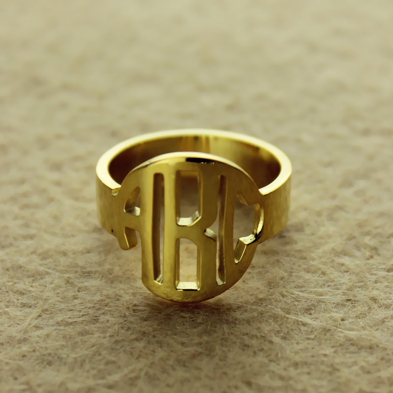 Personalized Circle Block Monogram 3 Initials Ring Solid Gold