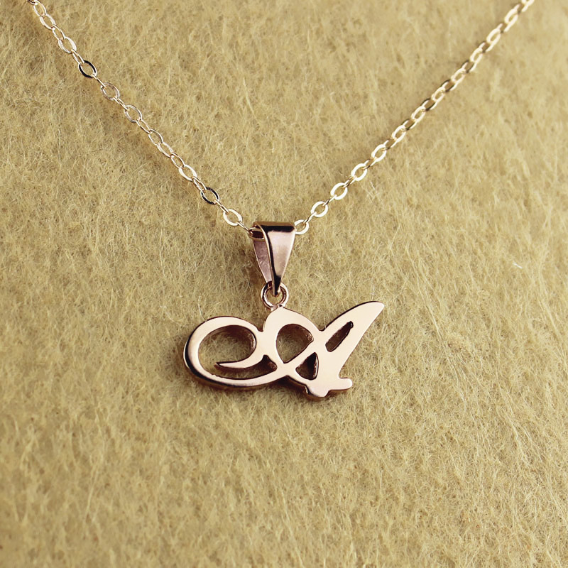 Personalized madonna style initial necklace solid rose gold for Rose gold personalized jewelry