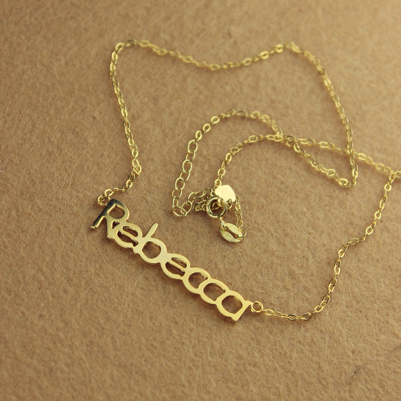 Solid Gold Rebecca Style Name Necklace 10k 14k 18k
