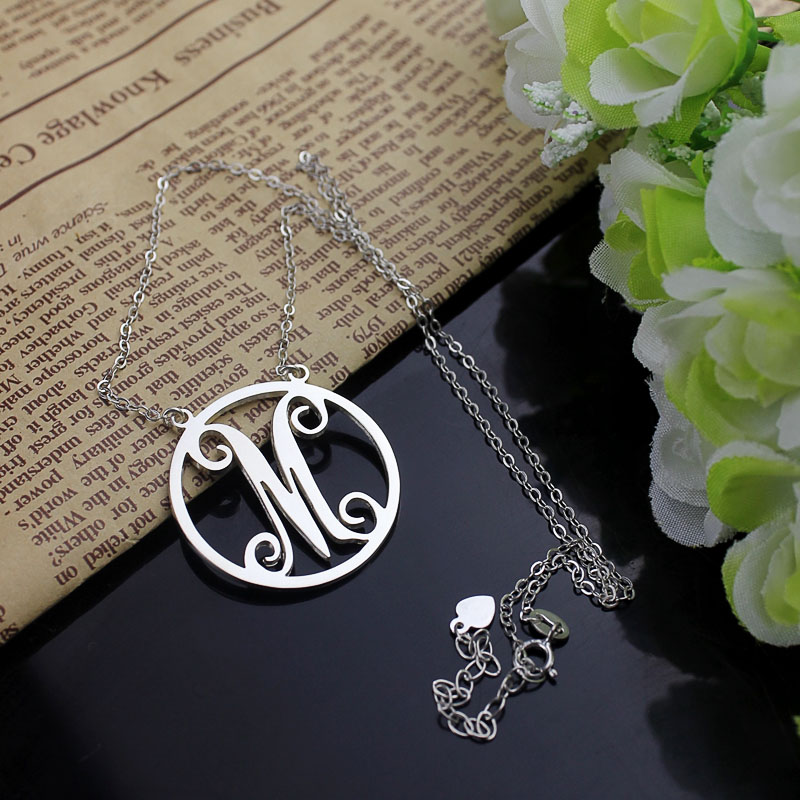 White Gold Initial Charm