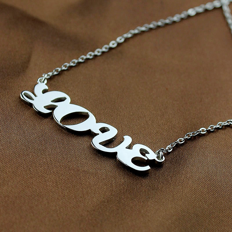 White Gold Name Plate Necklace