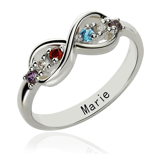 Personalized Birthstone Infinity Name Ring For Her