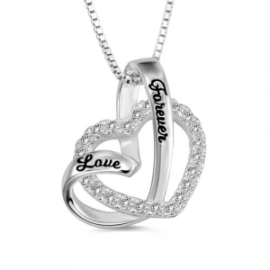 love forever heart in heart necklace sterling silver