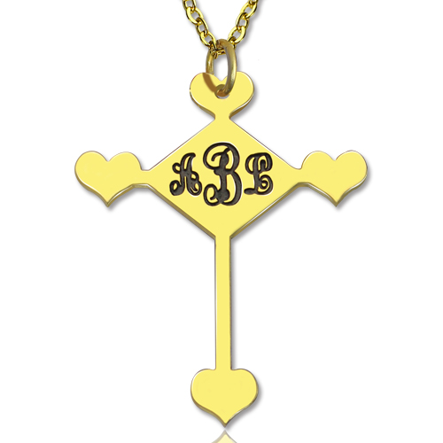 Engraved Cross Monogram Necklace 18K Gold Plated