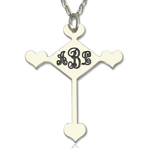 Sterling Silver Cross Monogram Necklace