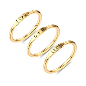 Personalised Sterling Silver Stackable Bar Rings In Gold
