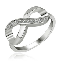 Crystal Love Infinity Ring in Sterling Silver