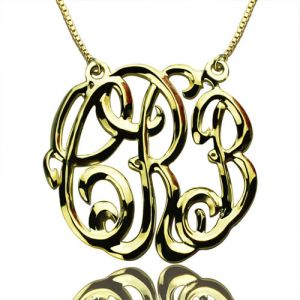 Celebrity Cube Premium Monogram Necklace Gifts 18K Gold Plated