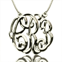 Celebrity Cube Premium Monogram Necklace Gifts Sterling Silver