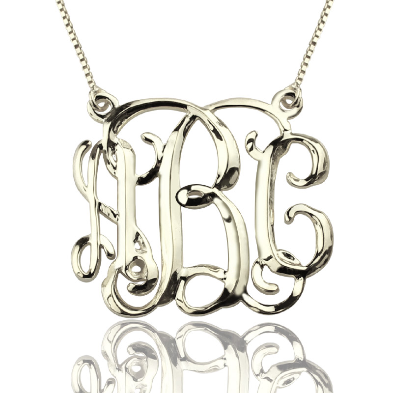 Personalized Cube Monogram Initials Necklace Sterling Silver