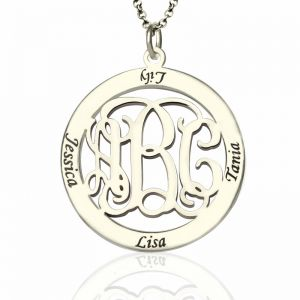 Sterling Silver Monogram Necklace Stamped Names