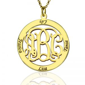 Family Monogram Name Necklace In Gold Plated