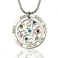 Personalized Mother's Necklace with Kids Name & Birthstone