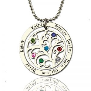 Personalised Family Tree Birthstone Name Necklace