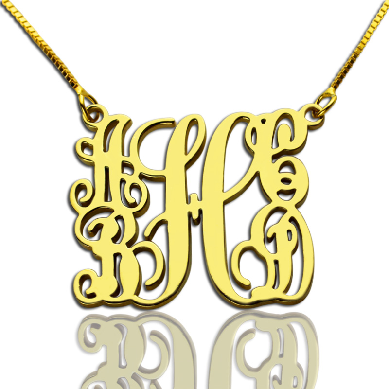 Gold Family Monogram Necklace With 5 Initials