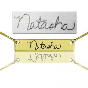 Custom Necklace Signature Bar Necklace Handwritring Gold