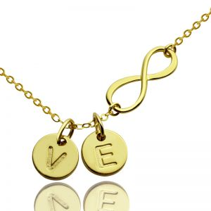 Infinity Necklace With Disc Initial Charm 18k Gold Plated