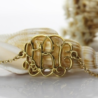 18K Gold Plated Celebrity Monogram Bracelet