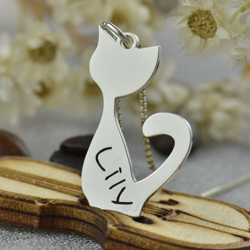 personalized cat name charm necklace in silver