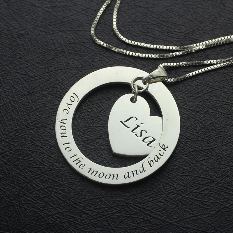 Custom Promise Necklace with Name & Phrase Sterling Silver