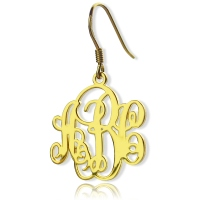 Script Monogram Initial Earrings 18K Gold Plated