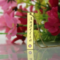 Personalized Name Tag Bar Necklace in Gold