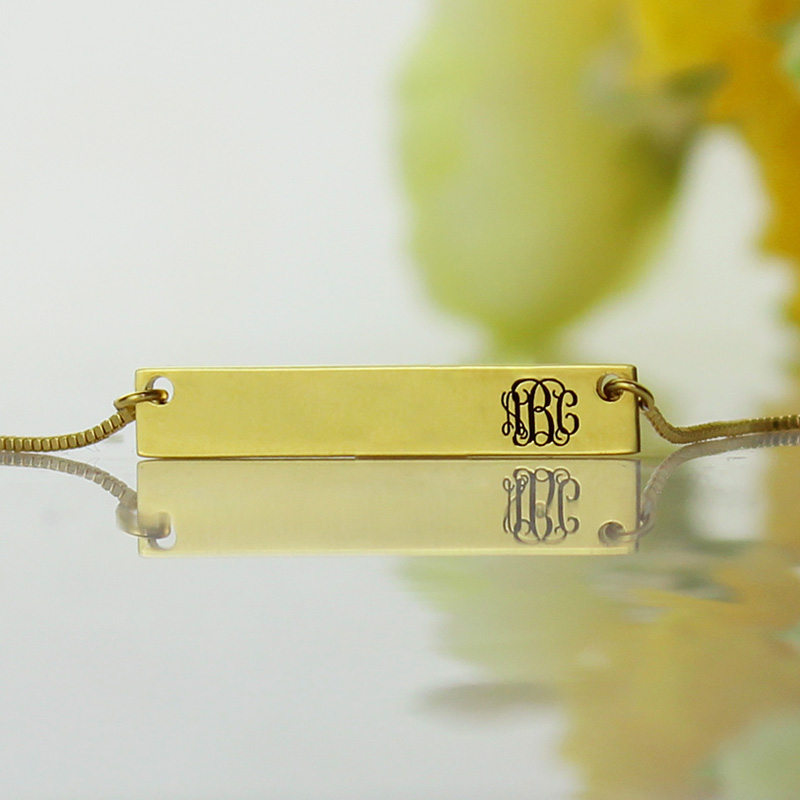Personalized Gold Initial Bar Necklace Monogram