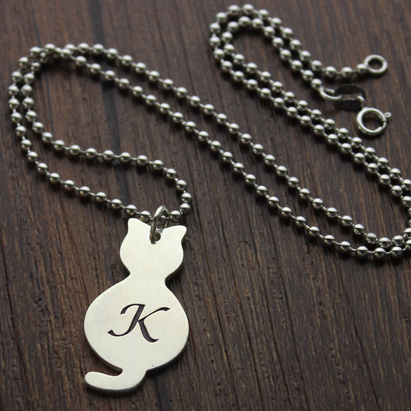 Personalized Tiny Cat Initial Pendant Necklace Silver
