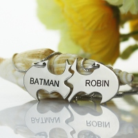 Batman Mother Daughter Name Necklaces Set