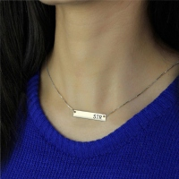 Sterling Silver Initial Bar Necklace