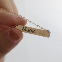 Engraved Name Bar Necklace with Icons Rose Gold