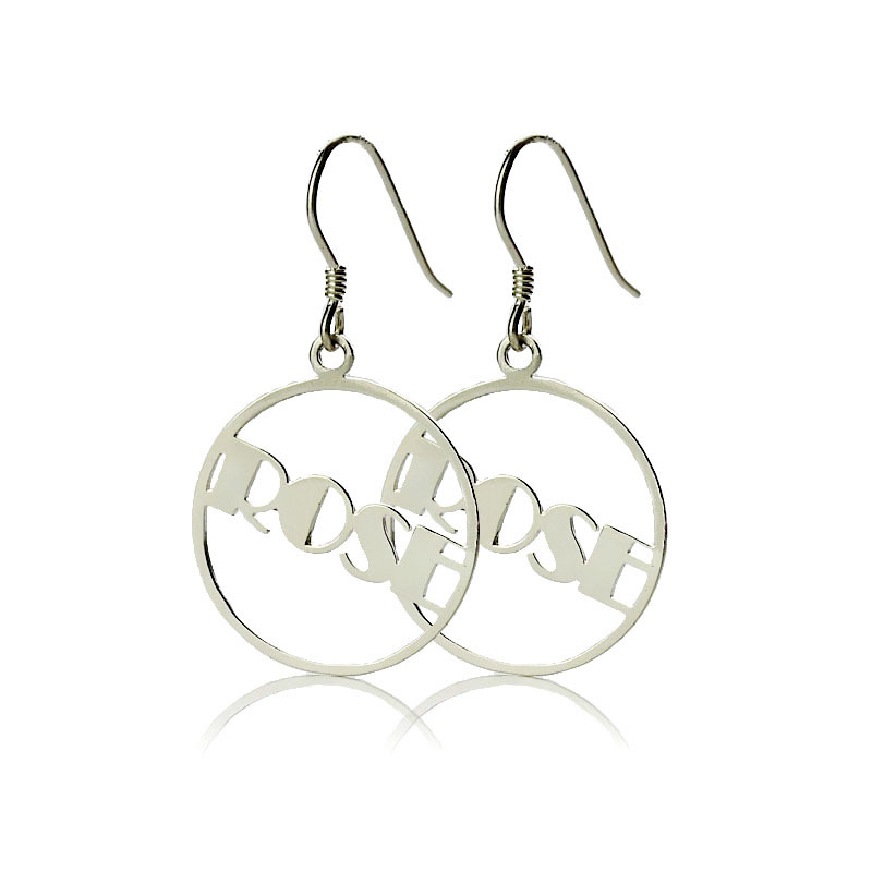 Sterling Silver Broadway Font Circle Name Earrings