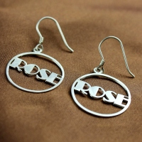 Broadway Font Circle Name Earring