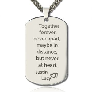 Titanium Steel Love Quote Dog Tag for Him